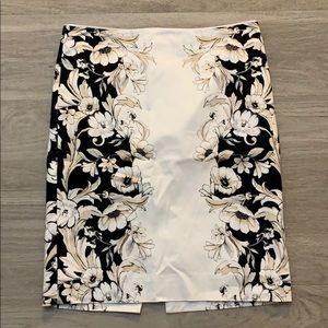 White House Black Market Floral Print Skirt